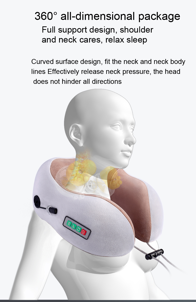 2020 New electric USB travel U shaped massage neck pillow with battery