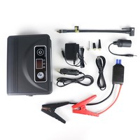 Portable mini 12V Tyre/Tire inflator pump with jump starter or 12V Car air compressor with jump start battery booster for cars