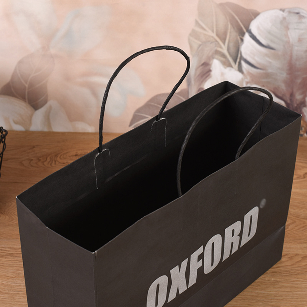 Black kraft paper bag with logo wholesale string handle