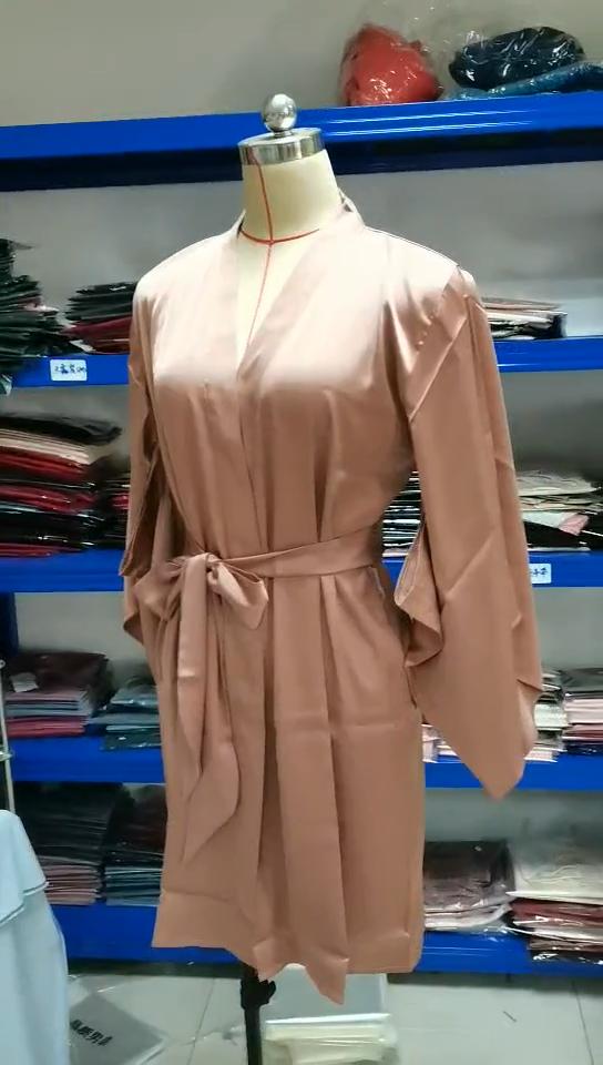 女性の高級純粋な色サテンショート着物ブライドメイドランジェリーローブ