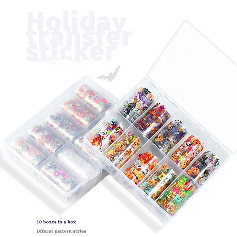 Christmas Halloween Holiday nail patch decals water transfer nail art stickers