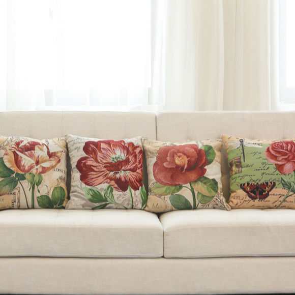 Hot Sale Floral Series Floral Pillow Covers Throw Pillows Set for Sofa Couch Living Room Red Green 45x45cm