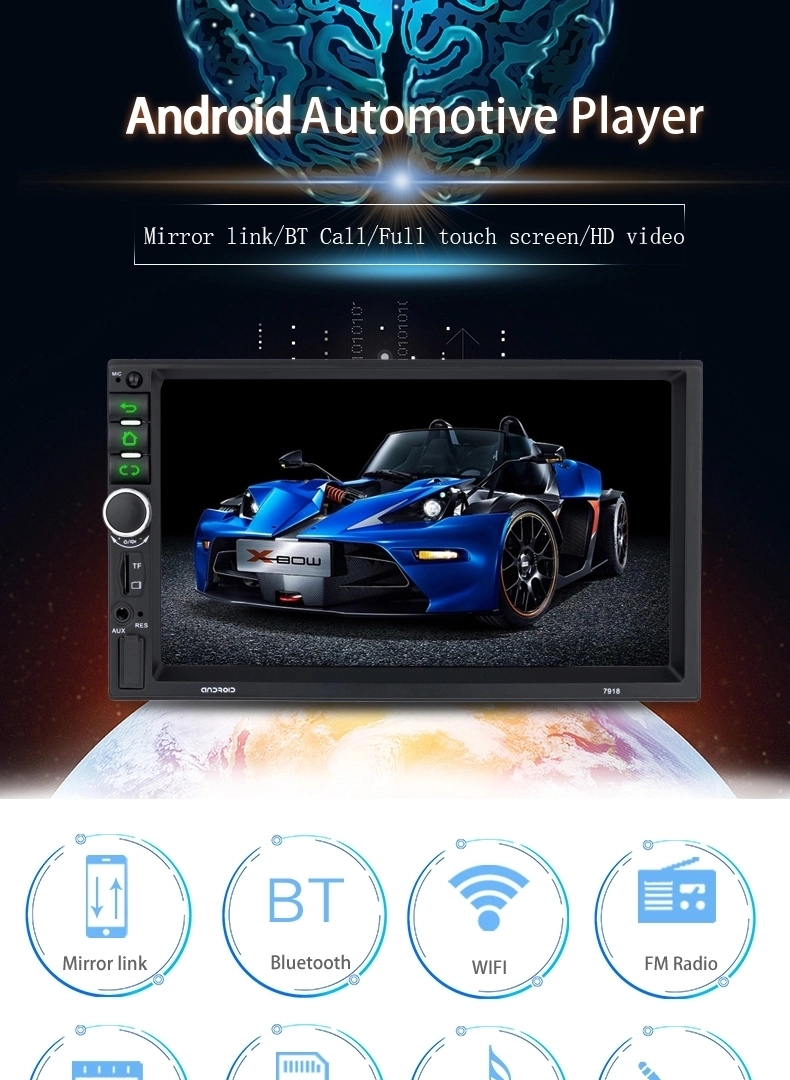 High Quality Universal 2 Din Android 8.1 7inch Capacitive Screen Mp5 Player Car Stereo With Wifi Gps BT