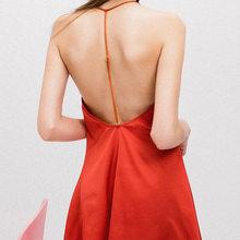 Сексуальное Женское ночное белье, женское мини-платье с v-образным вырезом и открытой спиной, шелковая ночная рубашка черного и красного цве...(Китай)