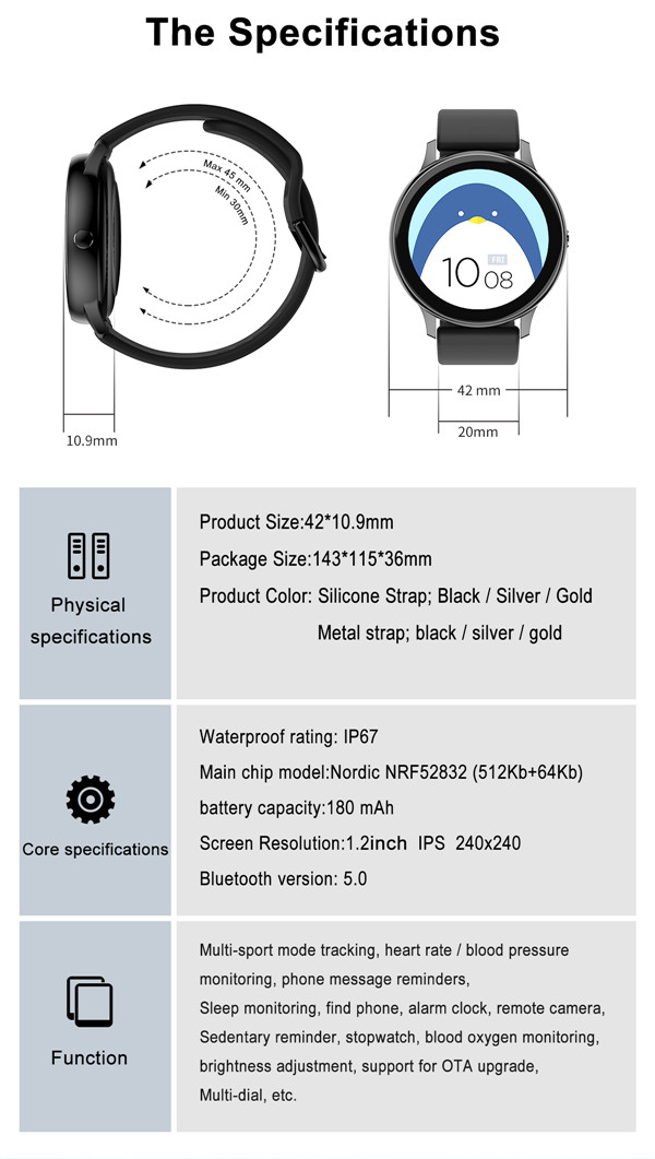 New fashion 1.28 inch full round touch screen android waterproof heart rate smart bracelet smart watch 2020 DT88 PRO