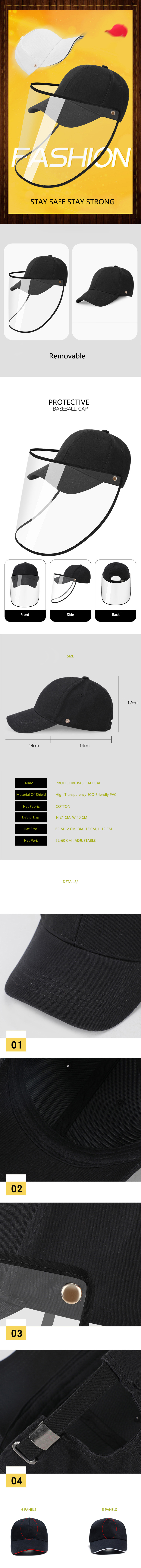 Direct splash protection protective cap anti-epidemic isolation anti-virus detachable baseball cap hat with face shield