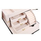 Pu leather black jewellery storage box with large mirror and two doors drawers jewelry box