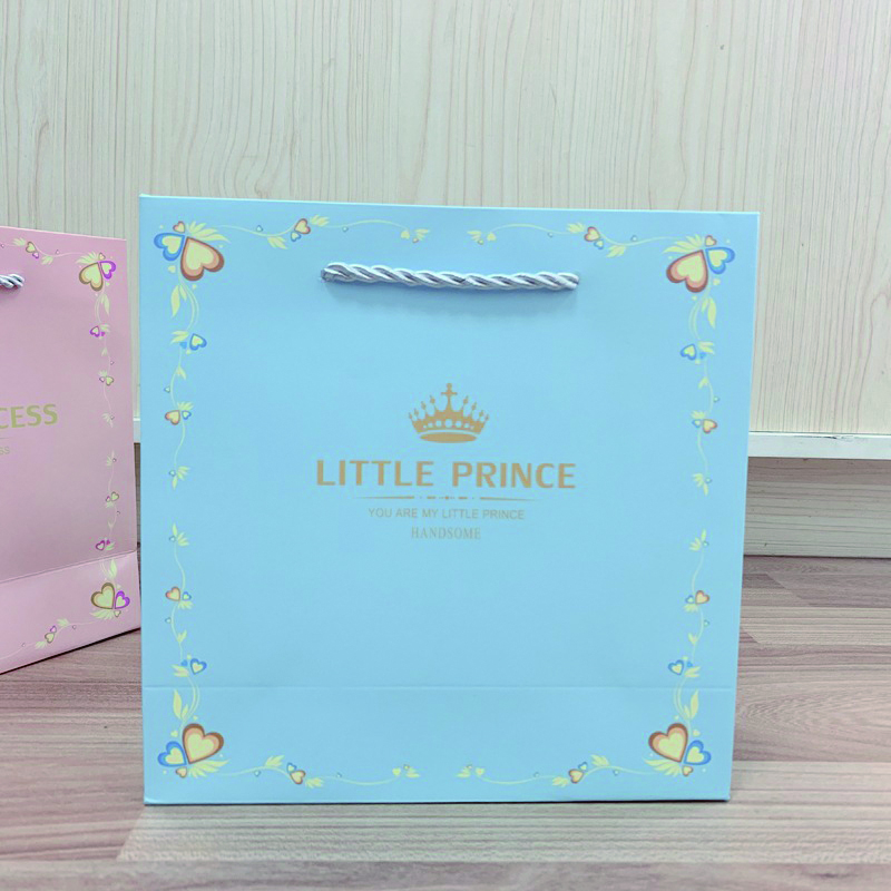 product-Dezheng-Little Princess Little Prince Gold Stamping Custom Design Pink Gift Paper Bag with H-1