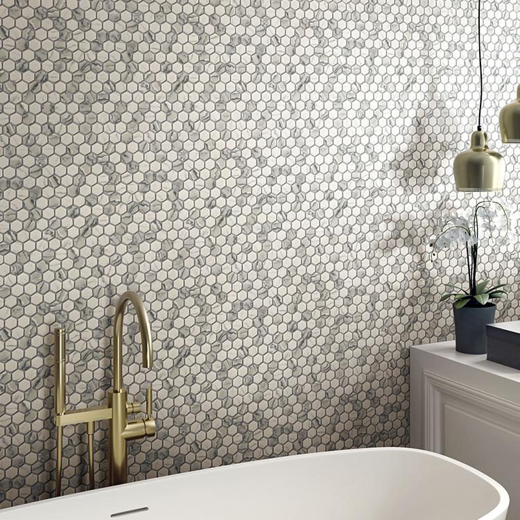 2020 Foshan Manufactured Hexagon Glass Mosaic Wall Tiles