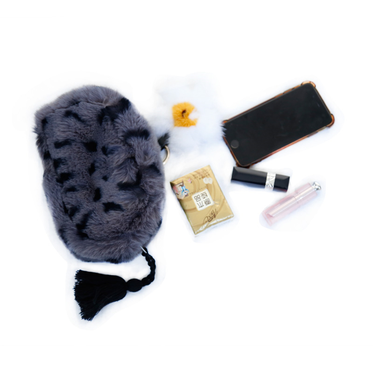 Women clutch bag fashion travel toiletry bag leopard pattern faux fur women hand bag