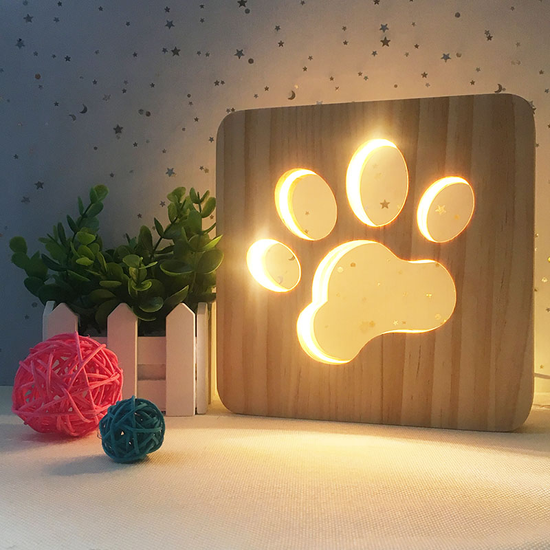 Manufacture Best Selling Customized Amazon Hot Sale Carved 3d Wooden Light 3d Creative Table Lamp