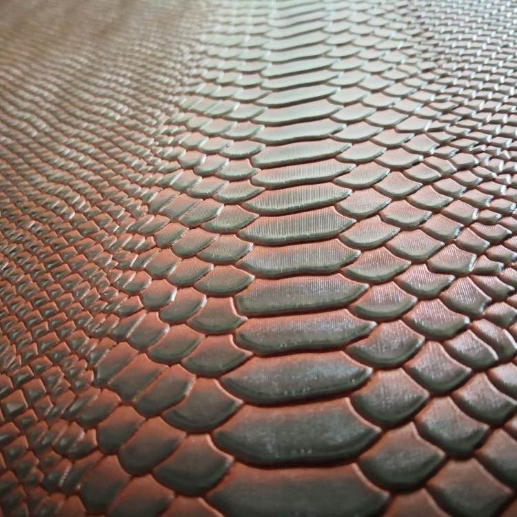 Scrub Brown <strong>Genuine</strong> Snake Embossed Shoes Usage <strong>Leather</strong> Material 1.0-1.2mm Thickness