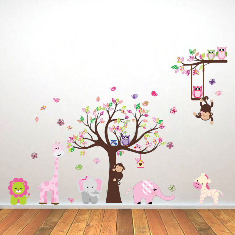large removable 3d forest animals wall stickers for kids room
