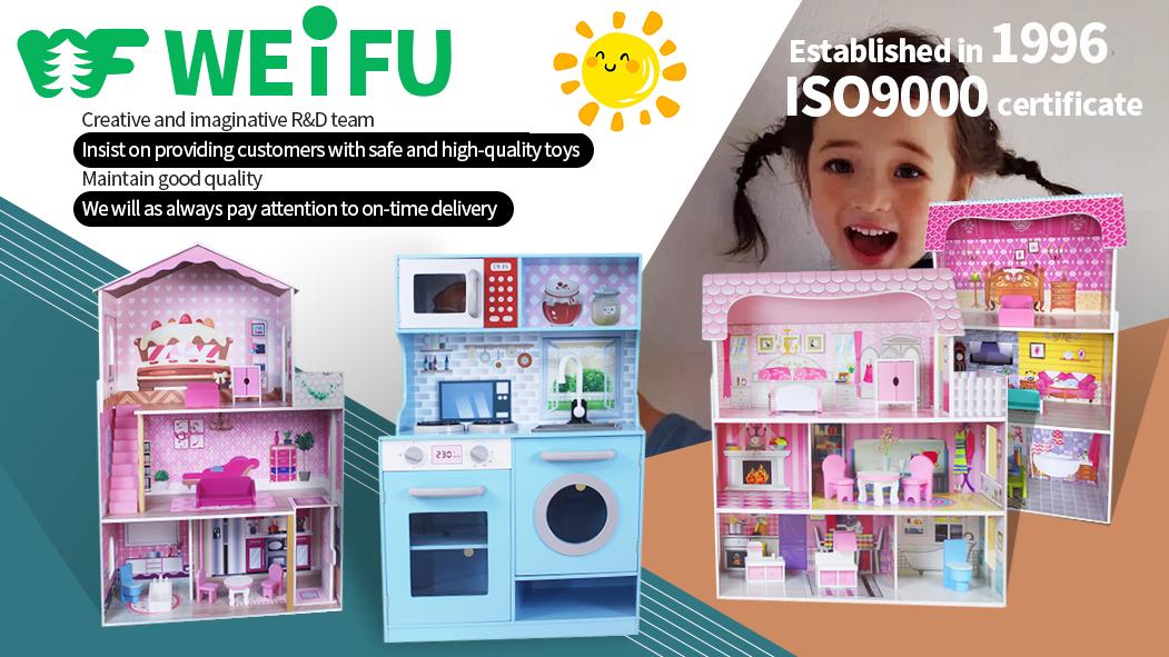 WEIFU Set Mainan Peralatan Dapur Multifungsi, Set Mainan Dapur Putar dengan Kompor Wastafel dan Kabinet Oven Memanggang