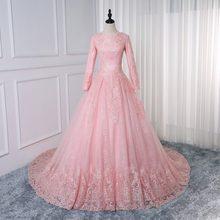 Мусульманское свадебное платье, розовое бальное платье принцессы, кружевное свадебное платье с длинным рукавом, винтажное свадебное плать...(China)