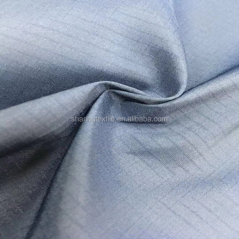 100% RPET Recycled Polyester Ripstop Fabric-50D 70GSM Grid PET Waterproof Polyester Taffeta Fabric For Reusable Shopping Bags