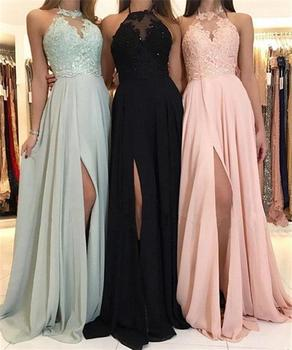 Beach Long Evening Dress Sexy Sheer Appliques Embroidery Evening Party Dresses lace sleeveless Dress Prom Dresses