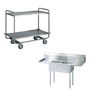 2 shelves stainless steel trolley mobil food transfer cart