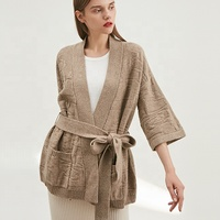 2020 Wholesale Women's Fashionable wool trend Knitted cardigan Slim waist strap Sweater coat