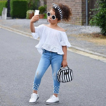ABCKIDS Hot Summer New Brand Boutique White Top Denim Pant 2 PCS Baby Toddler Children Girl Clothes Set