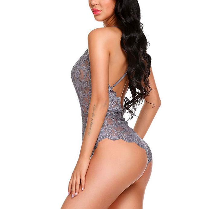 Wholesale Women Bodysuit Transparent Sheer Mesh Lace Cupped Sexy Lingerie