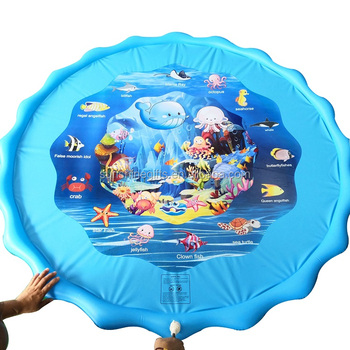 "Popular 63"" Sprinkle and Splash Play Mat, Inflatable Outdoor Sprinkler Pad Water Toys for Children and Kids"