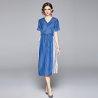 2021 summer women's V neck short sleeve Striped denim maxi dresses casual elegant simple design customized A line dres
