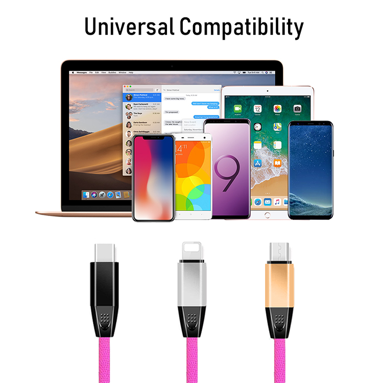 Hot Selling Good Quality nylon braided Colorful Mobile phone usb data charging cable