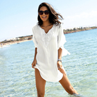 2019 Chiffon Holiday Swimwear Loose Solid Embroidered Bikini Outer Blouse Long Sleeve V-Neck White Beach Dress