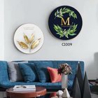 Free sample HQ 3D round shape canvas printed painting tree leaf wall art