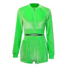 Womail, спортивный костюм, женский бархатный комплект из 2 предметов, весна-осень, спортивный топ на молнии с длинным рукавом + шорты, тонкий ком...(Китай)