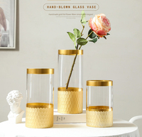 2019 gold tall glass cylinder vase for home decor flower vase for wedding centerpiece
