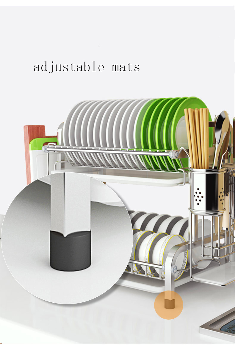 Kitchen Dish Drying Rack Stainless Steel Storage Organizer 2 layers Dish Drying Drainer With Cupboard