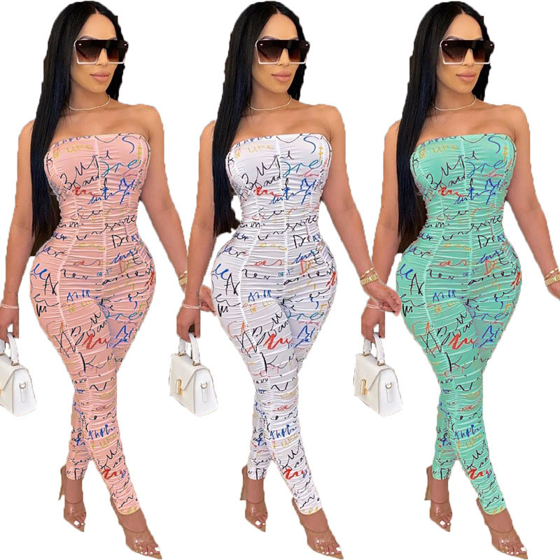 Women's Bodycon Romper Sexy Sleeveless Jumpsuits long Pants Set Slim Fit Clubwear Outfits