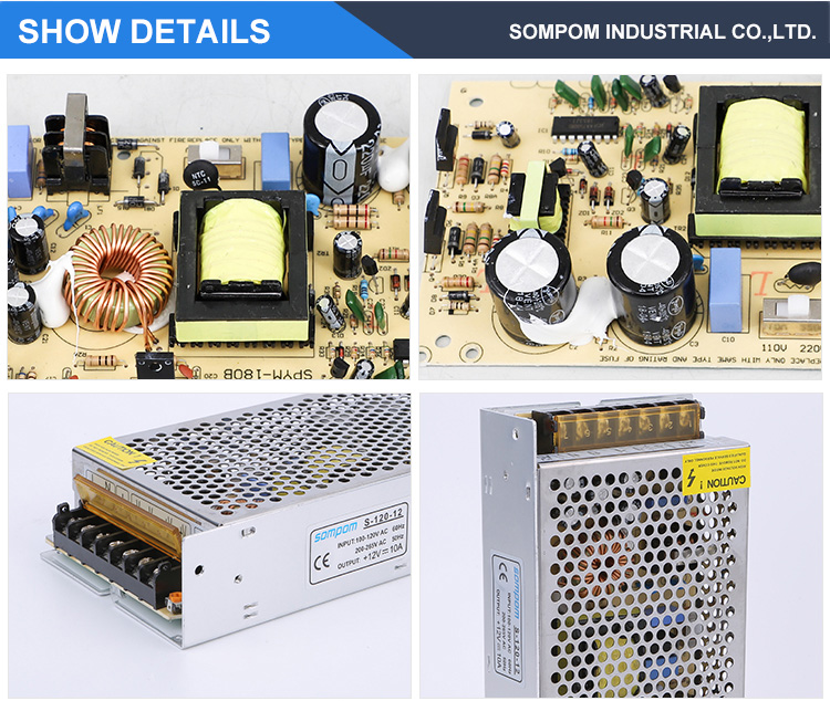 OEM AC DC 5V 12V 24V 1A 2A 5A 10A 20A 30A switching power supply for Led Strip Light Tin box