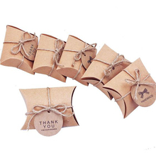 Recycle Kraft Pillow Box Customized Cardboard Mini Kraft Paper Pillow Box Package For Wedding