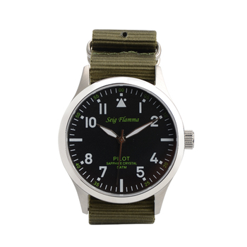 Military Pilot Style Watch Stainless Steel 5ATM Mens Watch Sapphire Glass Quartz Watch