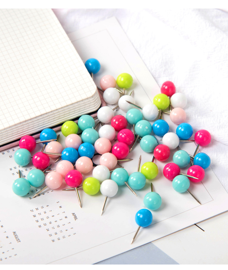 Classic wood office school Creative candy color push pin color ball push pin cork nail transparent,120,150 pieces/packs