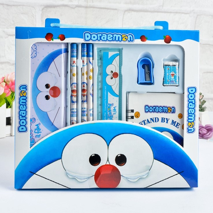 Groothandel School briefpapier set gift box cartoon draagbare briefpapier set hello kitty Doraemon kinderen gift set