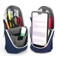 Custom Large Capacity Zipper Stationery Holder Pouch Case Waterproof Nylon School Stand Up Pencil Bag