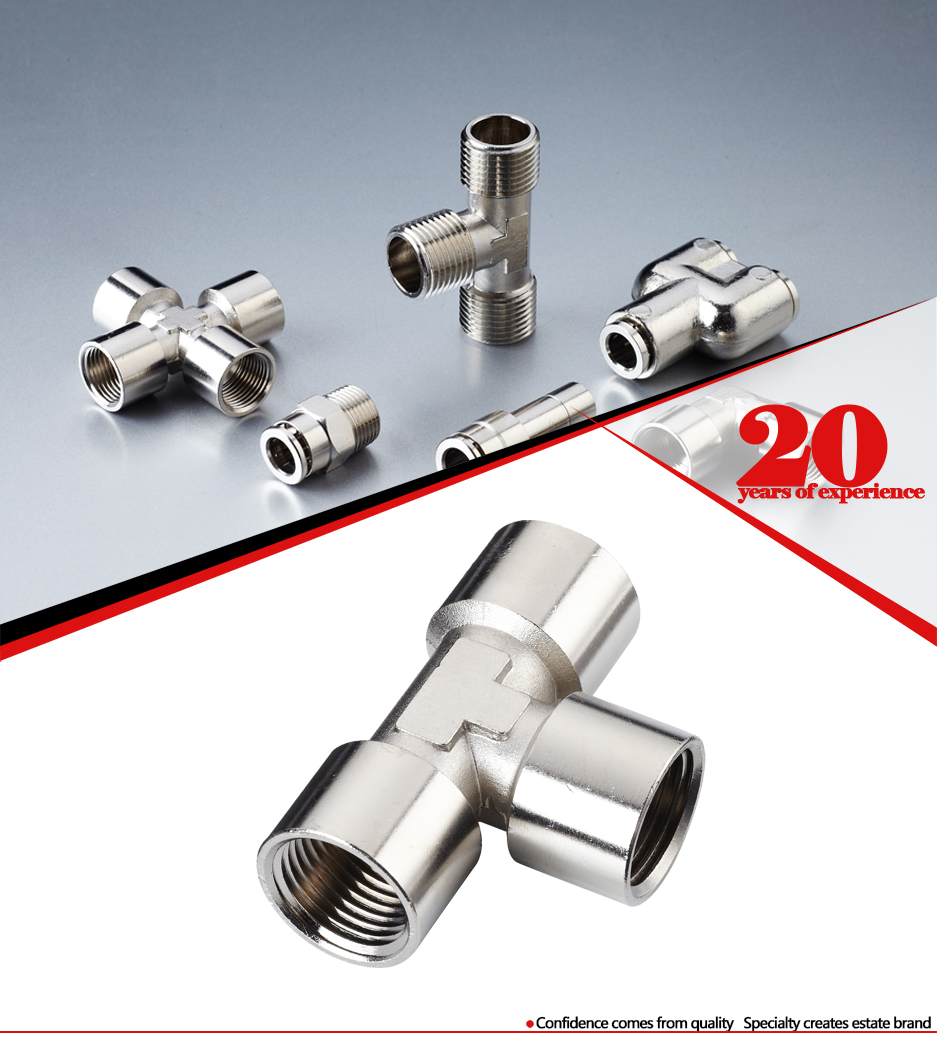 Copper plated nickel pneumatic tee female connector pipe fittings
