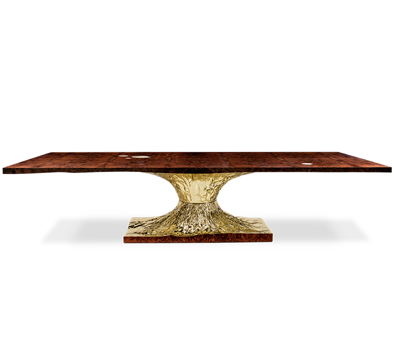 Luxury Walnut root veneer polished brass casted brass details <strong>square</strong> <strong>dining</strong> <strong>table</strong> for <strong>Dining</strong> Room or Restaurant