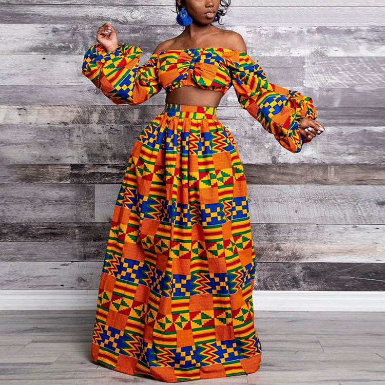 2020 Dashiki Pleated Printed Off Shoulder Crop Top And Skirts Set African Clothing For Women