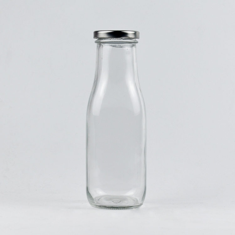 Wholesale Custom Beverages industry use 400ml milk bottle 14oz clear glass bottle for juice