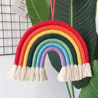 Modern Home Decoration Accessories Rainbow Handmade Weaving Ornament Simple Kid Room Wall Decor Hanging Pendant