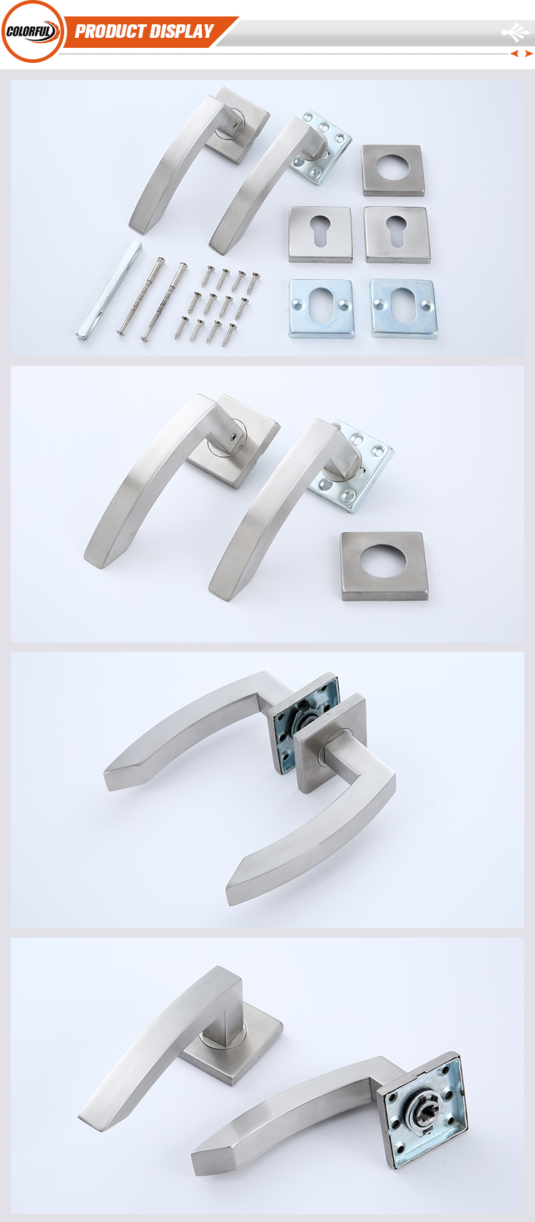 Modern Satin Stainless Steel Furniture Hardware Hollow Tube Interior Square Door Lever Handle