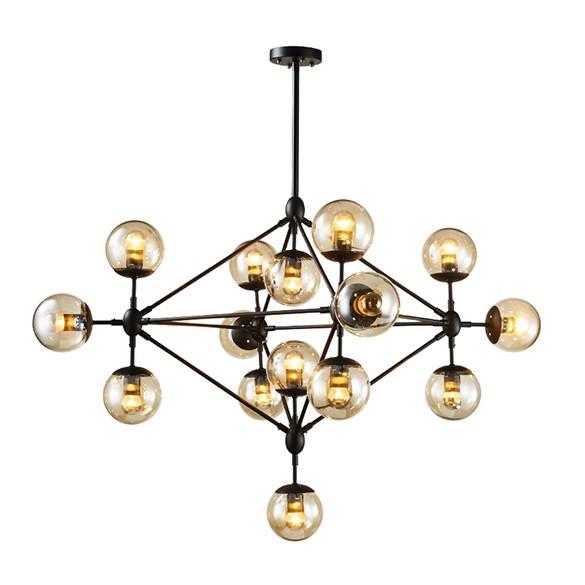 Popüler toptan klasik vintage duman amber cam top şeklinde asma lamba siyah avize ışığı