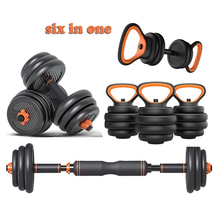 FED six in one adjustable dumbbell barbell kettlebell combination dumbbells set plastic adjustable dumbbell set for home gym