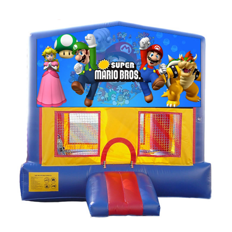 character commercial super mario inflatable bounce house with banner