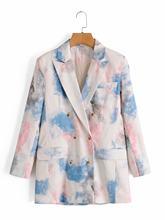 [DEAT] женский двубортный блейзер с галстуком-краской, новая куртка свободного кроя с длинными рукавами и лацканами, весна-осень 2020 13T459(Китай)